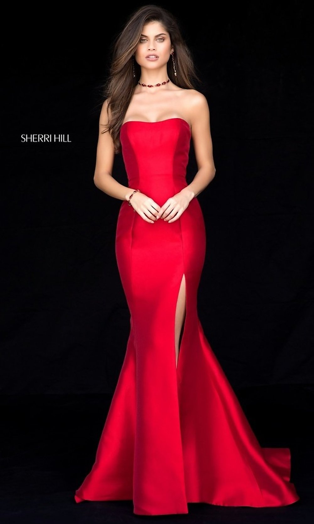 Long Sherri Hill Strapless Prom Dress - PromGirl
