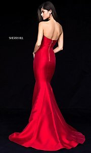Image of strapless long Sherri Hill prom dress with train. Style: SH-51671 Back Image