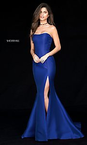 Image of strapless long Sherri Hill prom dress with train. Style: SH-51671 Detail Image 2