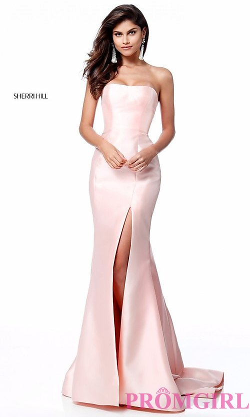 Image of strapless long Sherri Hill prom dress with train. Style: SH-51671 Detail Image 1