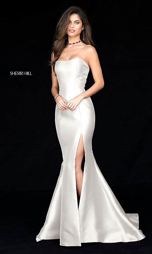 Image of strapless long Sherri Hill prom dress with train. Style: SH-51671 Detail Image 3