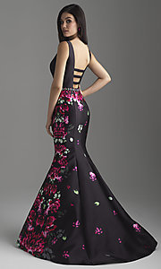 Image of mermaid floral-print long prom dress by Madison James. Style: NM-18-601 Back Image