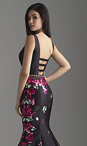 Image of mermaid floral-print long prom dress by Madison James. Style: NM-18-601 Detail Image 2