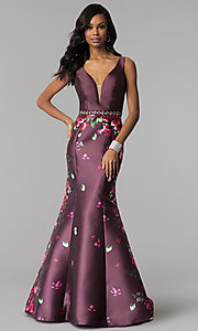 Image of mermaid floral-print long prom dress by Madison James. Style: NM-18-601 Front Image