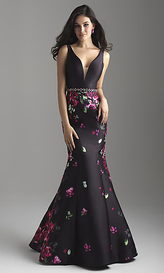 Mermaid Floral-Print Long Prom Dress by Madison James