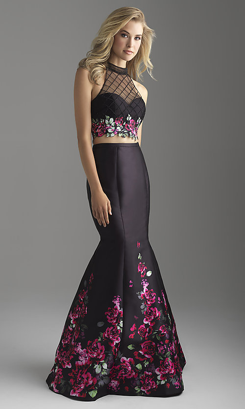 Image of long two-piece illusion prom dress with floral print. Style: NM-18-602 Front Image