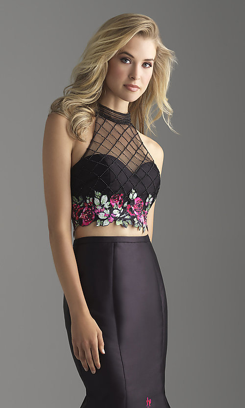 Image of long two-piece illusion prom dress with floral print. Style: NM-18-602 Detail Image 1
