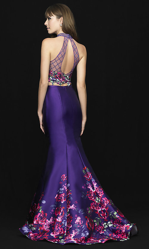 Image of long two-piece illusion prom dress with floral print. Style: NM-18-602 Back Image