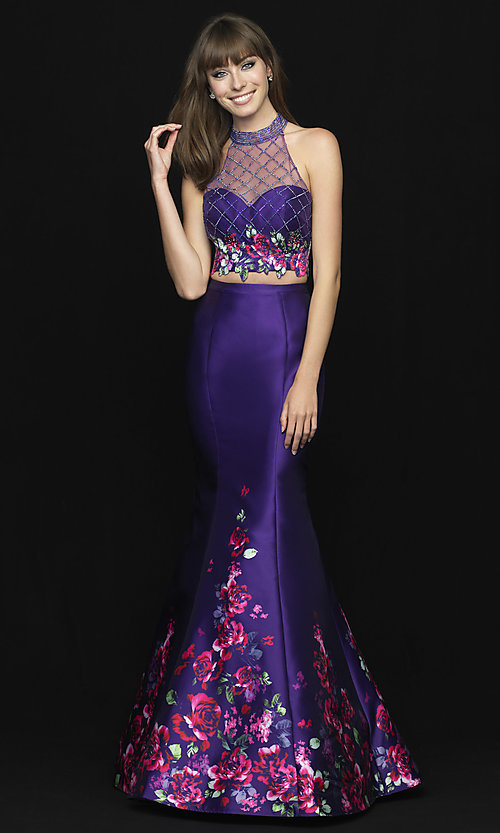 Image of long two-piece illusion prom dress with floral print. Style: NM-18-602 Detail Image 3