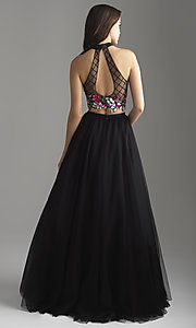 Image of long a-line two-piece designer prom dress. Style: NM-18-603 Back Image