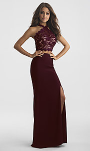 Image of long two-piece Madison James prom dress with lace. Style: NM-18-619 Detail Image 2