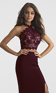Image of long two-piece Madison James prom dress with lace. Style: NM-18-619 Detail Image 3