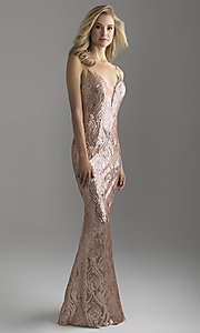 Long Rose Gold Sequin Prom Dress by Madison James