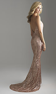 Image of long rose gold sequin prom dress by Madison James. Style: NM-18-624 Back Image