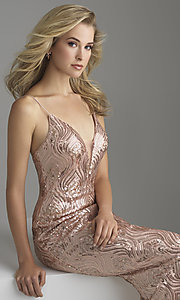 Image of long rose gold sequin prom dress by Madison James. Style: NM-18-624 Detail Image 1