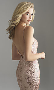 Image of long rose gold sequin prom dress by Madison James. Style: NM-18-624 Detail Image 2
