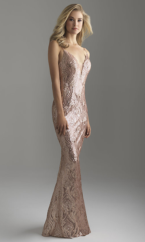 Image of long rose gold sequin prom dress by Madison James. Style: NM-18-624 Front Image