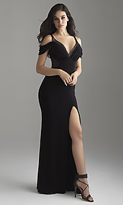 Cold-Shoulder V-Neck Jersey Prom Dress