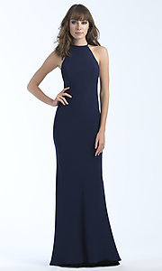 Image of jersey high-neck sleeveless long prom dress. Style: NM-18-677 Back Image