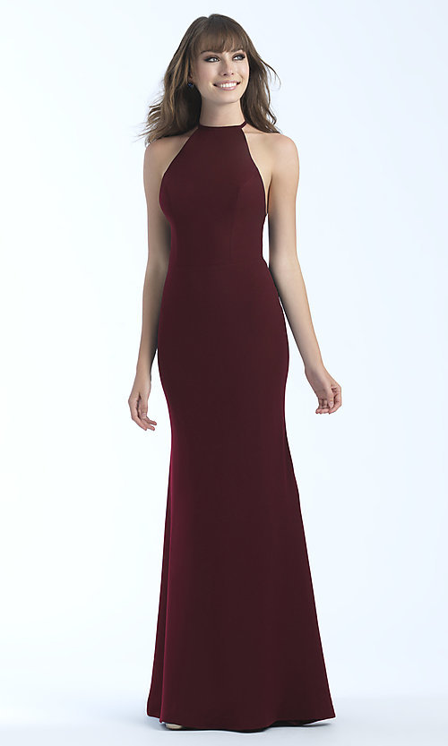 Image of jersey high-neck sleeveless long prom dress. Style: NM-18-677 Detail Image 1