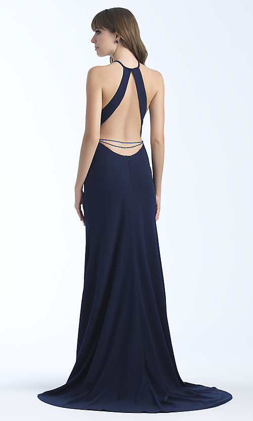 Image of jersey high-neck sleeveless long prom dress. Style: NM-18-677 Front Image