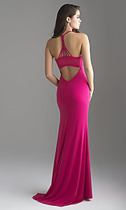 Image of long jersey formal prom dress by Madison James. Style: NM-18-690 Back Image