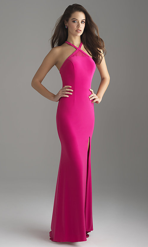Image of long jersey formal prom dress by Madison James. Style: NM-18-690 Front Image