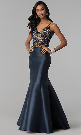 1a0a6da43bf Lace-Top Long Two-Piece Prom Dress with Corset
