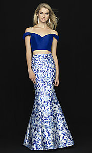 Image of two-piece off-shoulder prom dress with print skirt. Style: NM-18-725 Front Image
