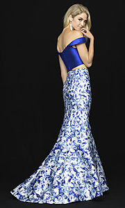 Image of two-piece off-shoulder prom dress with print skirt. Style: NM-18-725 Back Image