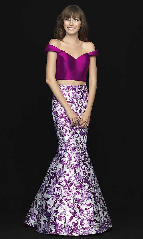 Image of two-piece off-shoulder prom dress with print skirt. Style: NM-18-725 Detail Image 1