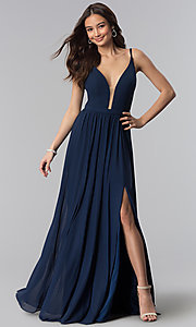 Image of navy blue bridesmaid dress with illusion v-neck. Style: NM-18-570 Front Image