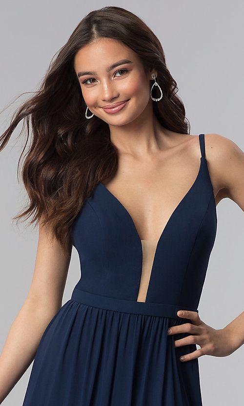 Image of navy blue bridesmaid dress with illusion v-neck. Style: NM-18-570 Detail Image 1