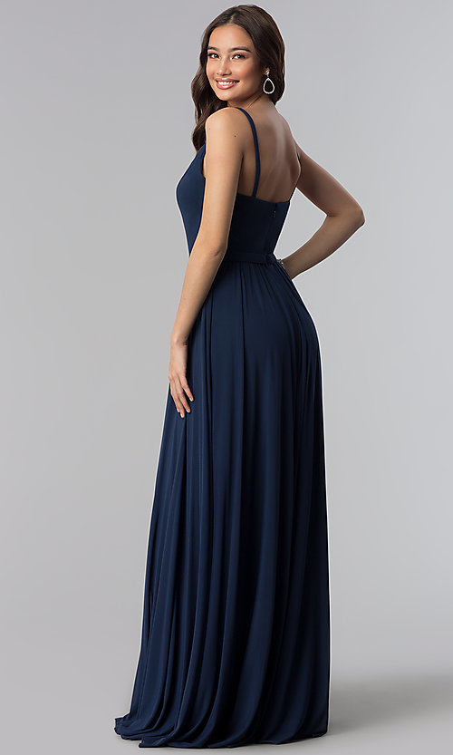 Image of navy blue bridesmaid dress with illusion v-neck. Style: NM-18-570 Back Image