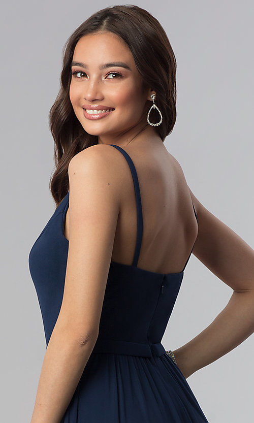 Image of navy blue bridesmaid dress with illusion v-neck. Style: NM-18-570 Detail Image 2