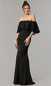 Image of long mermaid prom dress with off-the-shoulder ruffle. Style: NM-18-575 Front Image