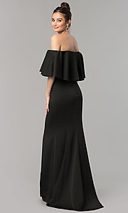 Image of long mermaid prom dress with off-the-shoulder ruffle. Style: NM-18-575 Back Image