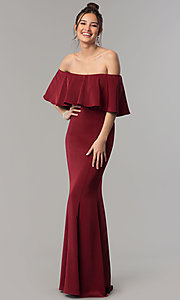 Image of long mermaid prom dress with off-the-shoulder ruffle. Style: NM-18-575 Detail Image 3