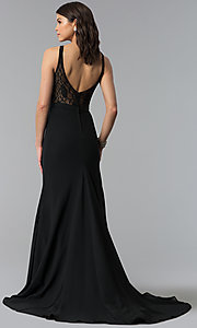 Image of long black bridesmaid dress by Madison James. Style: NM-18-578 Back Image