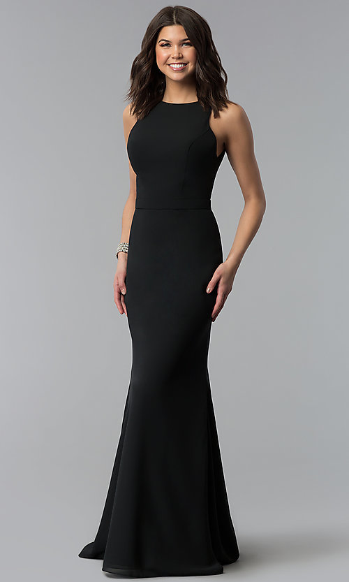 Image of long black bridesmaid dress by Madison James. Style: NM-18-578 Front Image