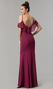 Image of long chiffon off-the-shoulder prom dress with straps. Style: NM-18-584 Back Image