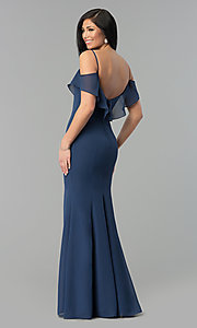 Image of long chiffon off-the-shoulder prom dress with straps. Style: NM-18-584 Detail Image 3