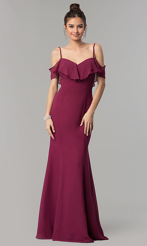 Image of long chiffon off-the-shoulder prom dress with straps. Style: NM-18-584 Front Image