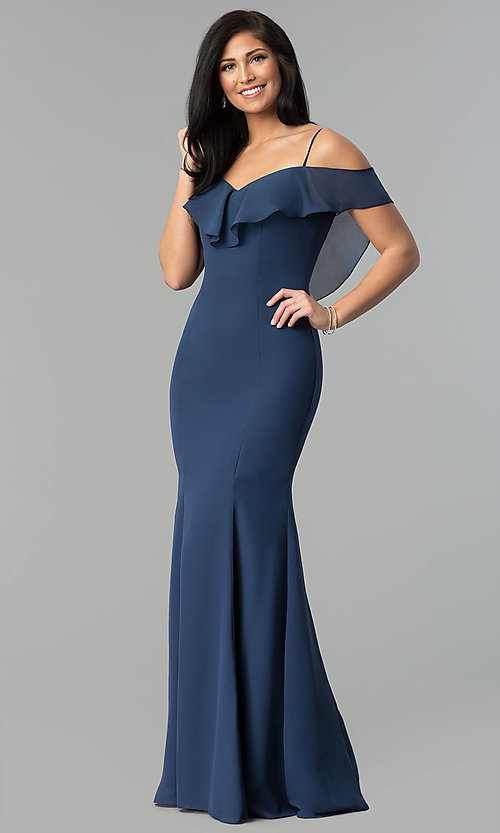 Image of long chiffon off-the-shoulder prom dress with straps. Style: NM-18-584 Detail Image 2