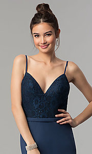 Image of long prom dress with v-neck lace bodice. Style: NM-18-579 Detail Image 1
