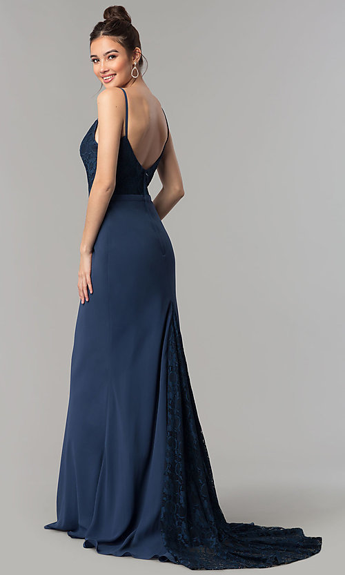 Image of long prom dress with v-neck lace bodice. Style: NM-18-579 Back Image