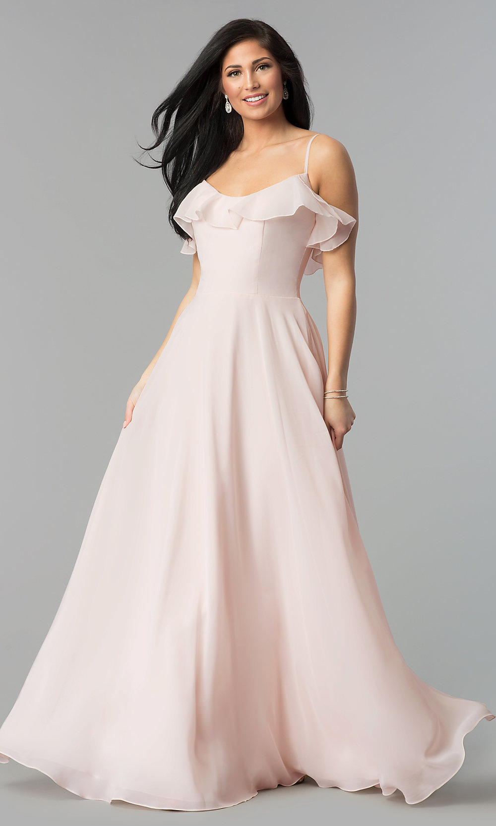 V-Neck Long A-Line Prom Dress with Ruffle - PromGirl