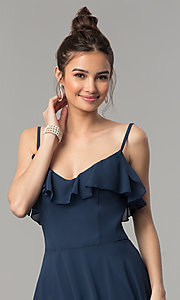 Image of v-neck long a-line chiffon prom dress with ruffle. Style: NM-18-585 Detail Image 3