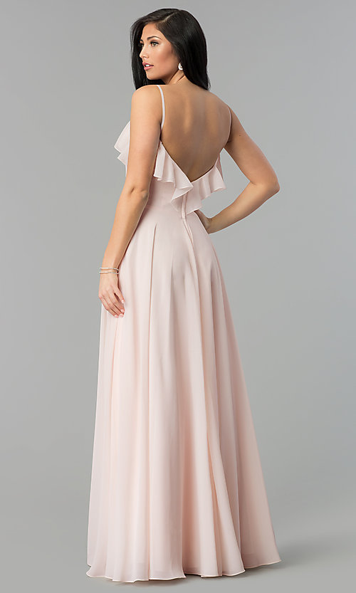Image of v-neck long a-line chiffon prom dress with ruffle. Style: NM-18-585 Back Image