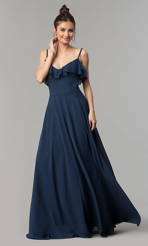 Image of v-neck long a-line chiffon prom dress with ruffle. Style: NM-18-585 Detail Image 1